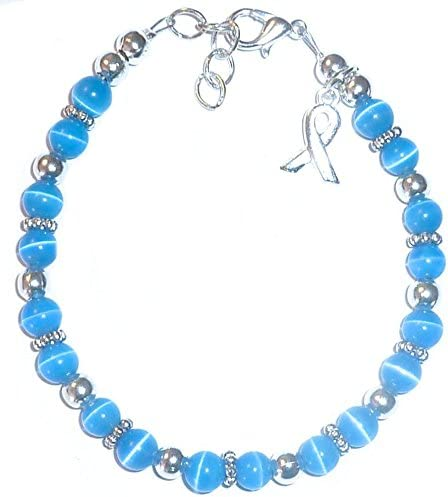 Amazon Com Cancer Awareness Bracelet For Showing Support Or Fundraising Campaign Adult Size With Extension 6mm Cat S Eye Beads Comes Packaged Colon Cancer Blue Arts Crafts Sewing