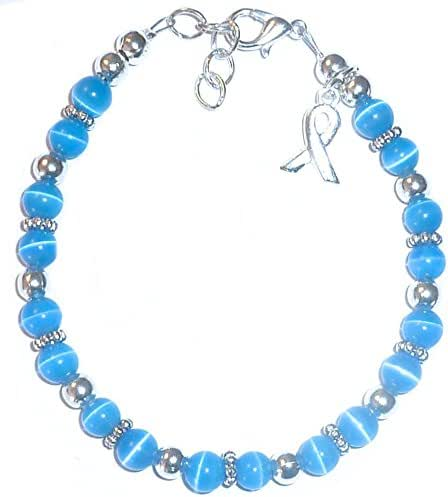Cancer Awareness Bracelet, for Showing Support or Fundraising Campaign, Adult Size with Extension, 6mm Cat's Eye Beads. Comes Packaged. (Colon Cancer - Blue)