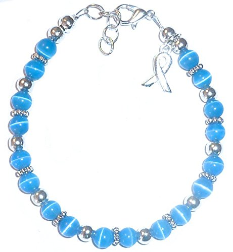Colon Cancer Awareness Bracelet by Hidden Hollow Beads, Fundraising Campaign, (7 ¾ in.), 8mm (Breast Cancer Watch Beading Awareness)