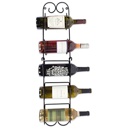 Home Traditions Z01662 Wall Mounted Wine Rack Holds up to 6 Bottles, Small, Black by Home Traditions