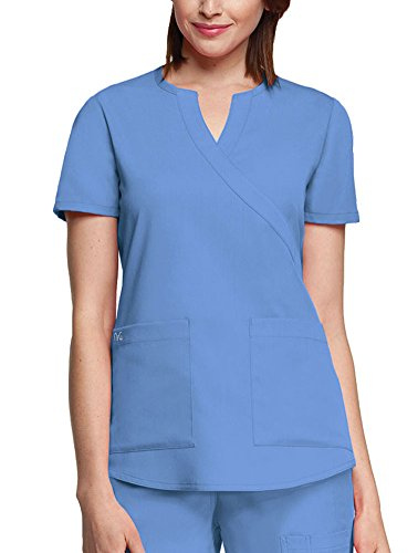 Barco NrG Women's 3119 2 Pocket Mock Wrap Scrub Top- Ciel Blue- 2X-Large ()