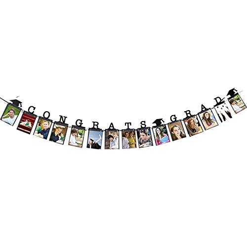 Hatcher lee Congrats Grad Photo Banner- Perfect Graduation 2018 2019 Decorations Party Supplies for Grad Party Bunting Black
