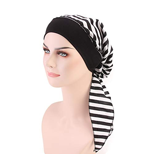 Vintage Women Elastic Wide Band Head Scarf Cotton Turbans Print Bonnet Multifunction Night Sleep Hat Chemo Hair Loss Wrap Cap (B&W) -
