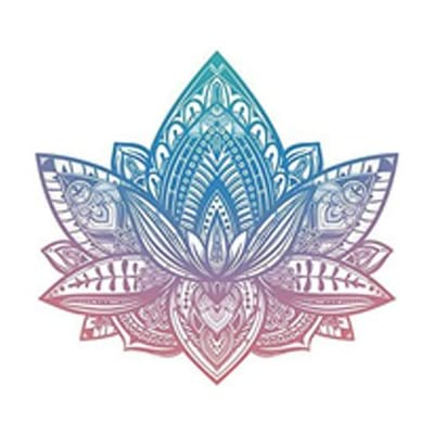 "Divine Designs Beautiful Tribal Henna Pattern Lotus Flower - Pink Blue Ombre Vinyl Decal Sticker (4"" Wide): Automotive"