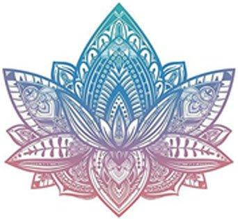 Beautiful Tribal Henna Pattern Lotus Flower - Pink Blue Ombre Vinyl Decal Sticker (4