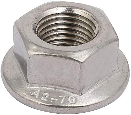 Liberty,4pcs M12 x 1.25mm Pitch Metric fine Thread Orthodontic 304 Stainless Steel hex Flange nut