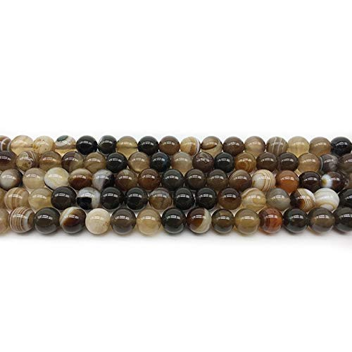 (Pukido 1 Strand Natural Striped Sardonyx Beads 8 Colors Agates Round Beads DIY Jewelry Making 4 6 8 10 12MM Pick Size Charm Accessories - (Color: Coffee, Item Diameter: 4mm 95pcs))