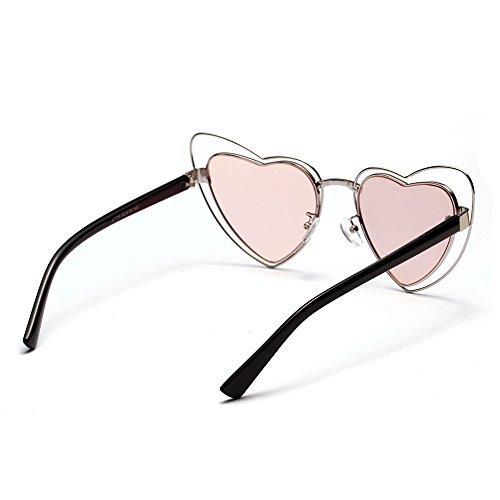 En De De TIANLIANG04 Sol Mujer Metálica Forma Corazón Rosa Gafas Color Sol Estructura La Fecha De De Gafas wwY8q