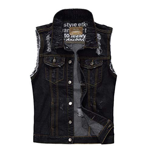 (iZZZHH Men's Casual Cowboy Jacket Sleevelesss Cotton Blouse Shirt Tops Denim Vest(A-Black,XL))