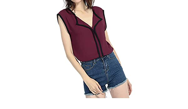 Wave166 Blusas Camisetas de Gasa Ropa de Mujer Camisas Sin Manga ...