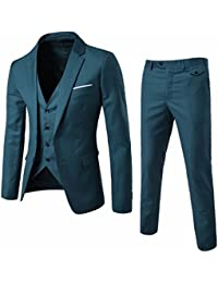 Men's Suit Slim Fit 3 Piece Suit Blazer Two Button Tuxedo Business Wedding Party Jackets Vest&Trousers