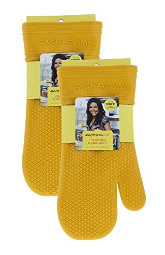 Rachael Ray Silicone Kitchen Oven Mitt with Quilted Cotton Liner, Dandelion 2pk