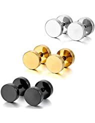 Silver Black Gold 3 Pairs Stainless Steel Stud Earrings Tapers Plugs Tunnel Double Side