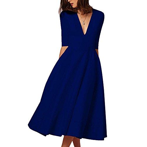 Dark Waist Sleeve Ruched Womens Swing Dress Blue Deep Tunic Midi Elegant V Dress Half Neck CHICFOR R60Yn86