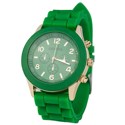 Unisex Silicone Sports Quartz Watches Green - 1