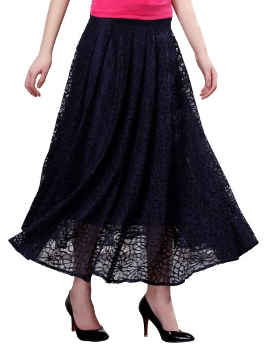 Maxchic Women's Cotton-blended Elastic Waist Pleated Lace Maxi Skirt X10770Y14C,Blue,XX-Large