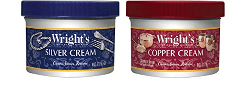 (Wright's Silver and Copper Cream Cleaner and Polish - 8 Ounce Each - Ammonia Free - Premium Metal Polish Silver Copper Brass Chrome Porcelain and)