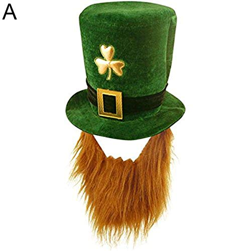Aland Funny Clover Faux Long Beard Stovepipe Hat St Patrick Day Costume Decoration A