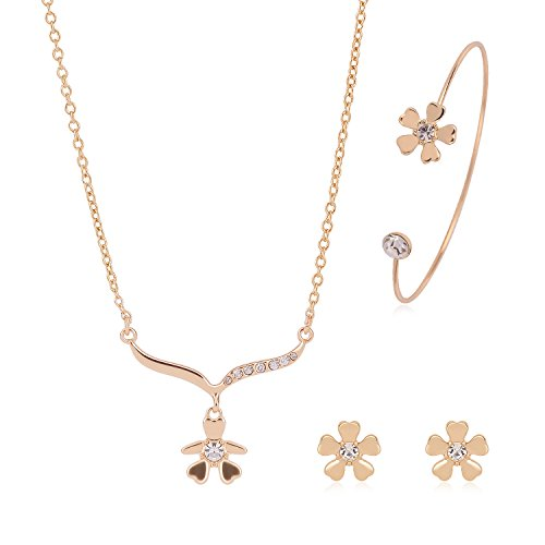 Akvode Womens Stainless Steel Jewelry Sets Fashion Cute Circle Necklaces Stud Earring Bracelets (61163006-Gold) (Mean Girls Christmas Dance Costume)
