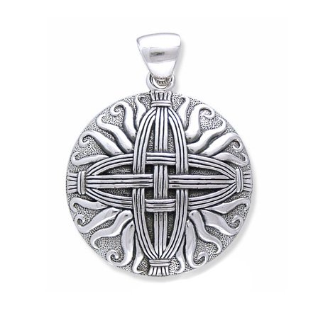 (Sterling Silver Woven Sunray Medallion St. Bridget - Brigid's Celtic Cross Knot Pendant)