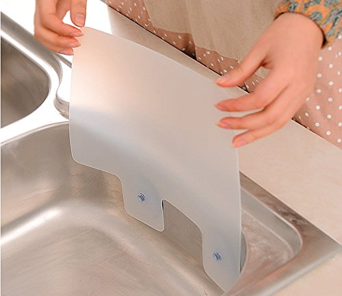 Lautechco 2pcs Kitchen Wash Basin Sucker Sink Water Splash Guards Dish Washing Baffle Board Household Tools