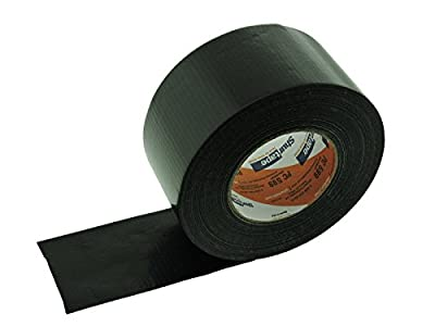 "3"" x 60 yd Black Duct Tape 9 Mil Thick Waterproof UV Resistant PE Cloth Backing High PC599 Performance Adhesive 72mm 2.83"""