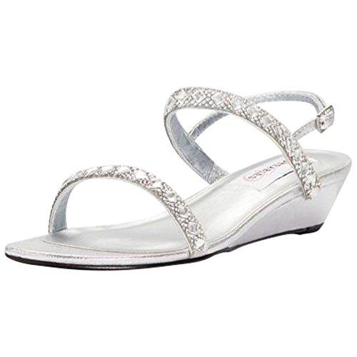 Crystal-Embellished Metallic Low Wedge Sandals Style Jasmine, Silver, 8 ()