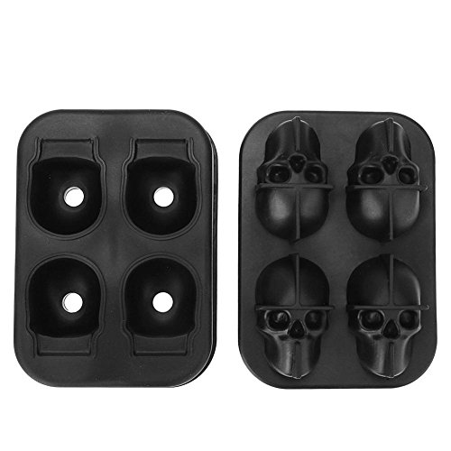 Anysell88 4 Holes Silicone Ice Cube Mold Tray Bones Skull Cake Candy Halloween Gift]()