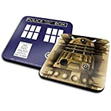 Set Of 2 Coasters: Doctor Who - Dalek + Tardis (4x4 inches)