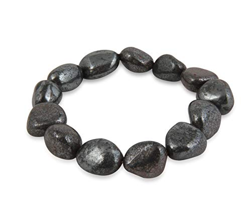 Raw Hematite Tumbled Crystal Healing Stretch Bracelet - Grounding Balancing Joy Vitality Confidence Clarity Overwhelm - Authentic Stone on Adjustable Length Cord - Authentic Polished Charm Stones ()