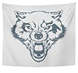 Emvency Tapestry Polyester Fabric Print Home Decor Colorful Werewolf Angry Wolf Head Beautiful Tattoo Wild Hunter Mascot Dog Teeth Wall Hanging Tapestry for Living Room Bedroom Dorm 50x60 inches