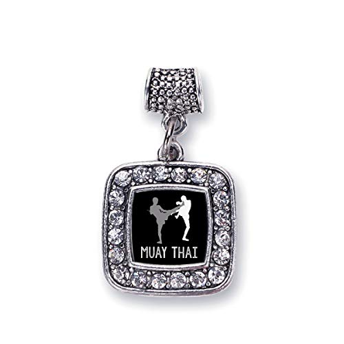 Inspired Silver - Muay Thai Memory Charm for Women - Silver Square Charm for Bracelet with Cubic Zirconia Jewelry