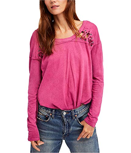 Free People Womens Linen Lace-Up Henley Top Pink L