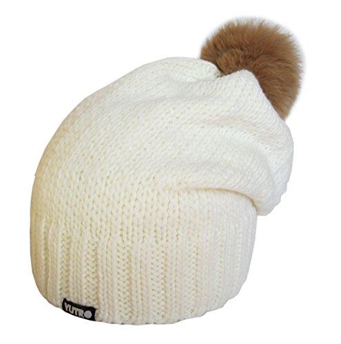 - YUTRO Women's Wool Slouchy Fleece Lined Winter Beanie Hat with Rabbit Pom OFF-WHITE