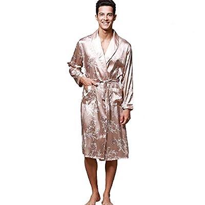 iLXHD Men's Satin Robe Dragon Luxurious Silk Spa Long Sleeve House Kimono Bathrobe Gold