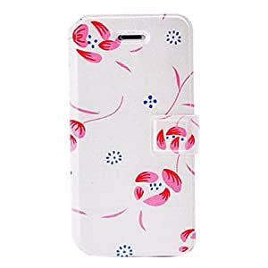GONGXI Fashion Small Fresh Red Florals White Leather Case with Holder & Card Slots for iPhone 5/5S