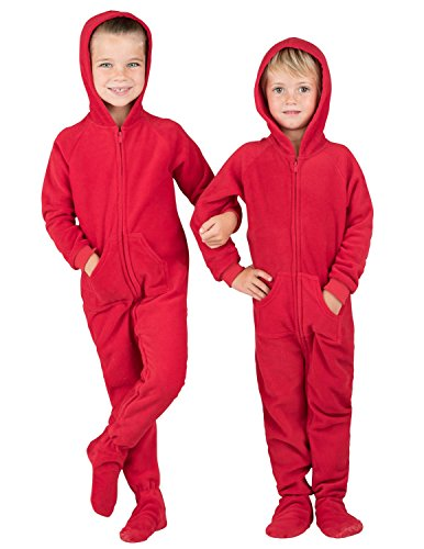 Footed Pajamas - Bright Red Toddler Hoodie Fleece - Extra Large