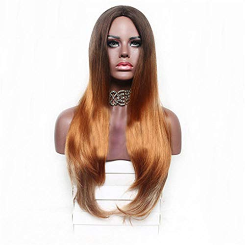 Wig High Temperature Silk European And American Fashion Women'S Long Straight Hair Chemical Fiber Wig Headgear ()