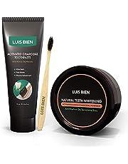 Luis Bien tandenbleekset, 100% natuurlijk houtskoolpoeder + natuurlijke houtskooltandpasta 75 ml + bamboetandenborstel, frisse adem, vlekverwijderaar 3in1-pakket
