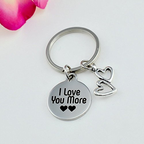 e682c9f61a I Love You More Key Chain, Double Heart Charm Keychain, Mom Daughter,  Mother's Day, Sisters Best Friends BFF Gift, Couples, Girl, Boyfriend,  Valentine's Day ...