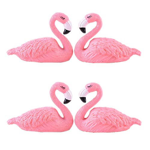 4 Pcs Pink Flamingo Statue Crafts Cake Car Decor Gift Wedding Micro Landscape Succulents Flamingo Sticker Decor Vase Flower Pot ()