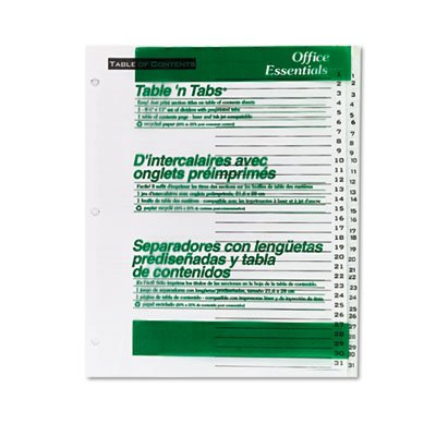 Office Essentials Table 'N Tabs Dividers, 31-Tab, 1-31, Letter, White, 1 Set - AVE11680