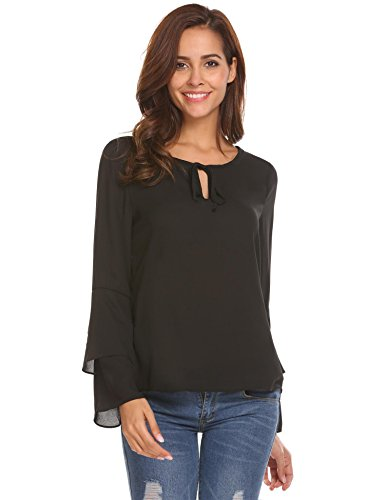 Chiffon Bell Sleeve (Zeagoo Women's Casual Black Tie-Bow Neck Bell Sleeves Chiffon Shirt Top Plus Size,XX-Large,Black)