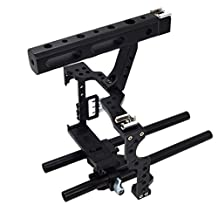 Dovewill DSLR Rod Rig Camera Video Cage Kit & Handle Grip for Sony A7 A7II A7r A7s II A6500 A6300, Panasonic GH4 GH3 to Mount Microphone,Monitor,Video LED Light,Follow Focus