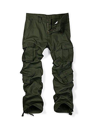 MUST WAY Mens Causal Slim Fit Cargo Pants Multi-Purpose Pocket Military Style Work Pants