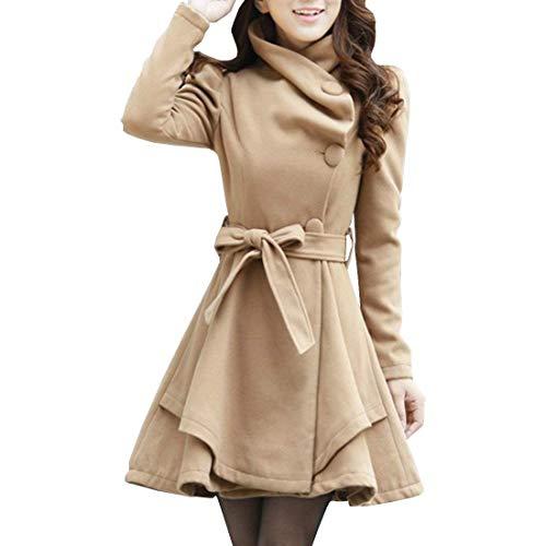 Femme Coat Elgante Warm Automne Hiver Manteau Mode Chic Slim Fit Manches Longues Revers Classique Vintage Couleur Unie Trench Outerwear Blouson avec Ceinture 3 Beige