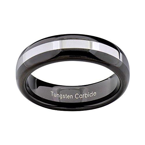 (FlameReflection 6mm Tungsten Band Black IP White Stripe Center Women's Wedding Ring Size 7)