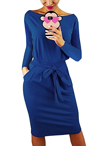 - PRETTYGARDEN Women's 2018 Casual Long Sleeve Party Bodycon Sheath Belted Dress with Pockets (Y-Blue, Small)
