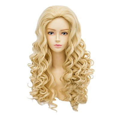 HJLHYL-Angelaicos Womens Popular Lady Blonde Long Wavy Curly Halloween Costume Party Cosplay Full Wig ()