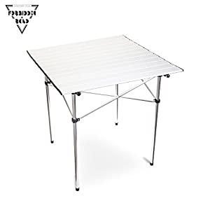 Forbidden Road Aluminum Folding Camping Table Lightweight Portable Picnic Table with Carry Bag Stable Durable Easy Set up for Patio Garden BBQ Beach Fishing Outdoor & Indoor Silver